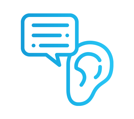 An ear next to a message bubble